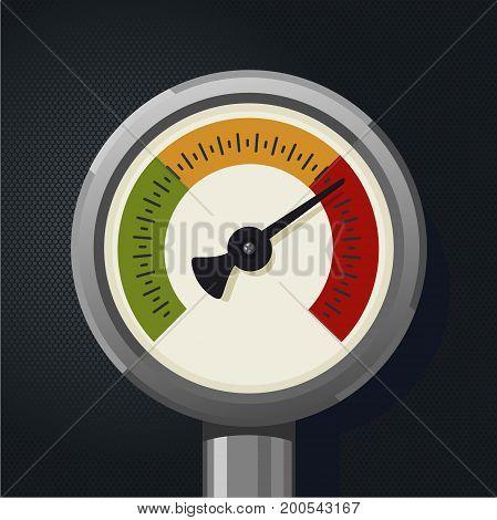 Isolated realistic retro pressure gauge. Metallic high pressure sensor Vintage object.