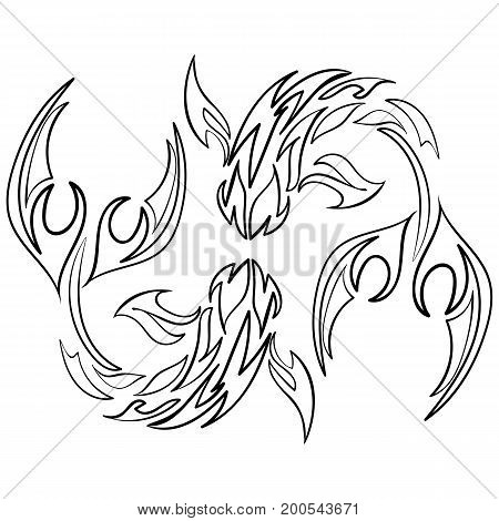 Fish icon on white background. Astrology sign. Vector zodiac. Ink sketch fish tattoo