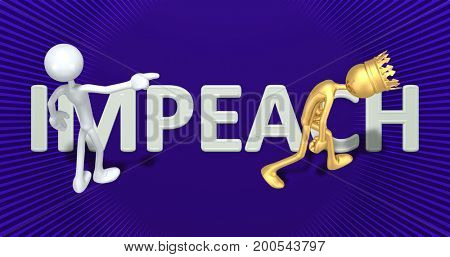 Impeachment Of The King Of America 3D Illustration