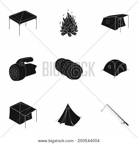 Various kinds of tents and other tourist accessories. The tent set collection icons in black style vector symbol stock illustration .
