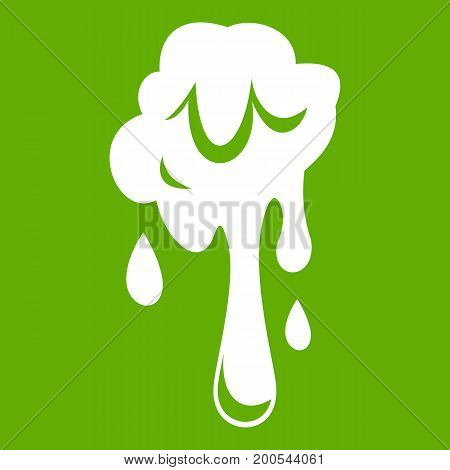 Dripping slime icon white isolated on green background. Vector illustration