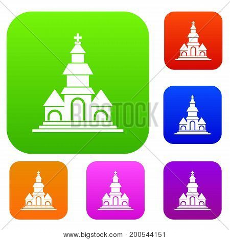 Church in simple style isolated on white background vector illustration