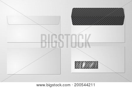 DL Envelopes mockup front and back view, vector illustration. Set of blank realistic envelopes mockup. Blank paper envelopes for your design. Blank envelopes. Photo-realistic vector illustration.