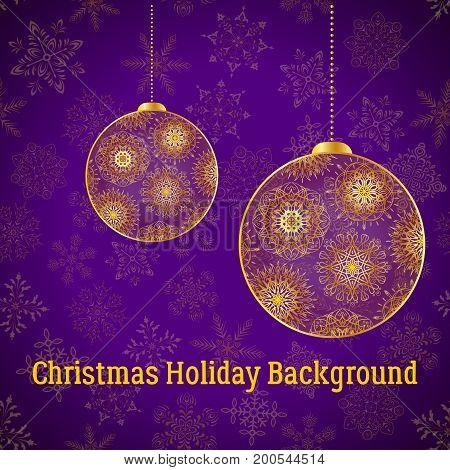 Holiday Christmas Background, Golden Decorated Balls on Violet Pattern with Snowflakes, Illustration for Your Design. Eps10, Contains Transparencies. Vector