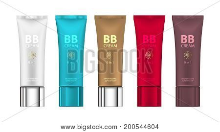 B.B. cream in different color of packages. Vector illustration of realistic packages of makeup foundation tubes. Vector mockup of packages of makeup foundation for your design