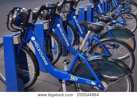 Melbourne Australia - March 20 2016: Row of Melbourne share bikes. Bike renting system is created to provide people with an additional transportation option.