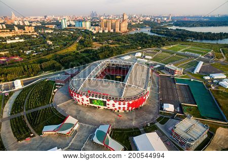 Moscow - August 20, 2017: Aerial view of Spartak Stadium (Otkritie Arena). Spartak Stadium has been selected for the 2018 FIFA World Cup.