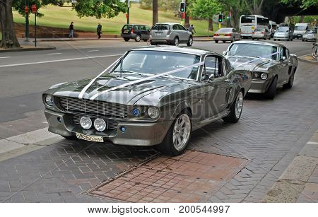 SYDNEY AUSTRALIA - NOVEMBER 02 2015: Classic car models of Shelby 1967 Mustang GT500 are parked on a street as a part of wedding cortege