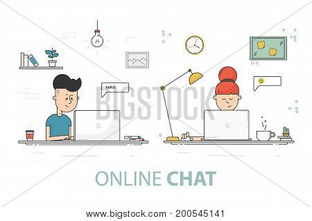 Online chat flat design vector illustration. Young girl and boy with laptop. Social network communication concept.