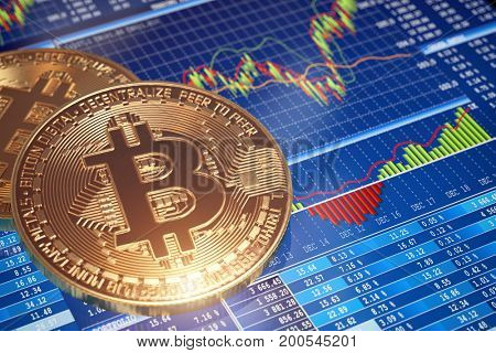 Golden Bitcoins ladder chart background. Graph of the growth of price. 3d illustration