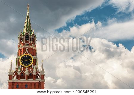The Spasskaya tower of Moscow Kremlin, Russia. The Moscow Kremlin is the residence of the Russian president and the main tourist attraction of Moscow.