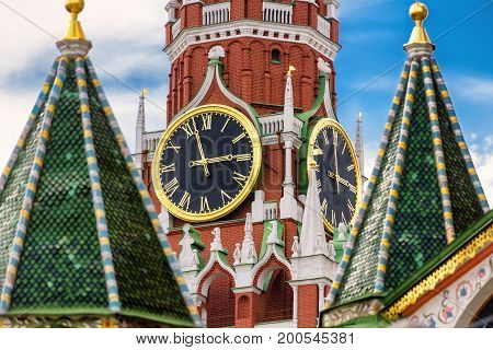 The famous Spasskaya tower of Moscow Kremlin, Russia. The Moscow Kremlin is the residence of the Russian president and the main tourist attraction of Moscow.