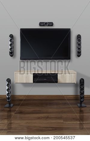 Home and decorate concept. Home theater set in living room