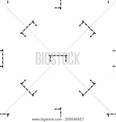 Striped barrier pattern repeat seamless in black color for any design. Vector geometric illustration