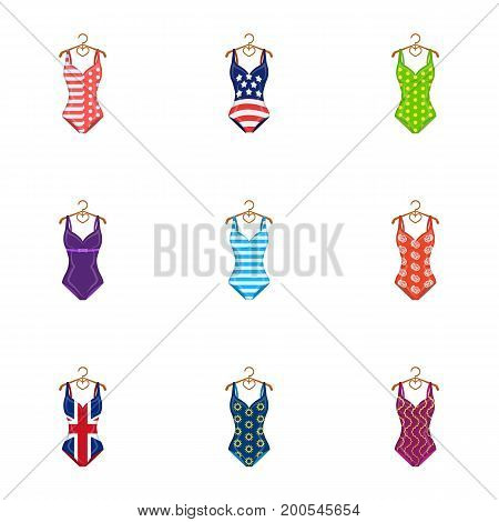 To relax on the beach, a pool of colorful swimsuits. Swimsuits set collection icons in cartoon style vector symbol stock illustration .
