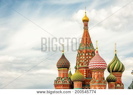 The Cathedral of Vasily the Blessed or Saint Basil`s Cathedral in the Red Square in Moscow, Russia. St. Basil`s Cathedral is a famous monument of Russian culture of the 16th century.