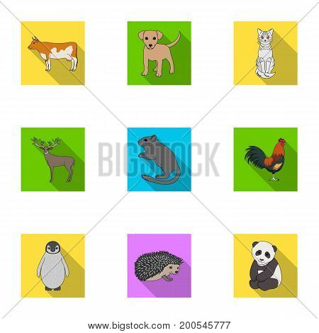 Deer, tiger, cow, cat, rooster, owl and other animal species.Animals set collection icons in flat style vector symbol stock illustration .