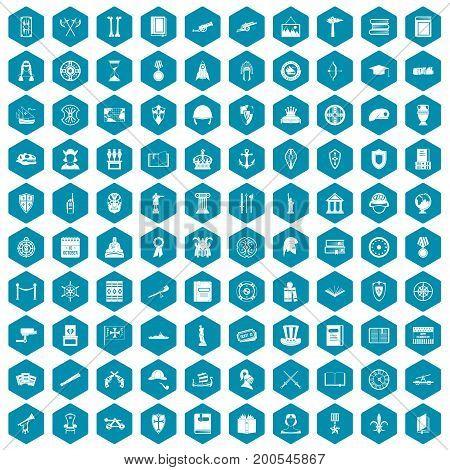 100 history icons set in sapphirine hexagon isolated vector illustration