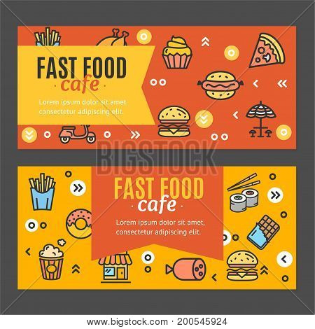 Fastfood and Street Food Flyer Banner Posters Card Horizontal Set Symbol of Tasty Snack for Retail Business. Vector illustration of two banners