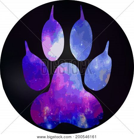 A Dog's Footprint In A Black Circle. Paw With A Space Pattern.