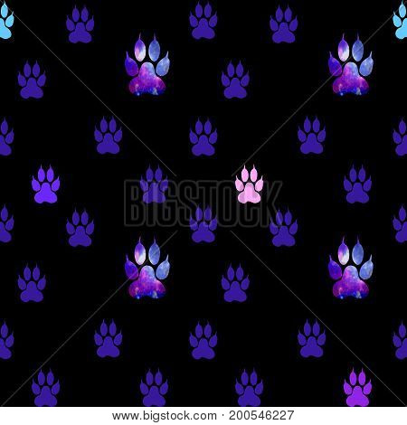 Seamless Pattern With Blue, Pink And Purple Paws On A Black Background. Paw With A Space Pattern.