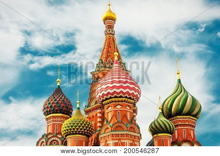 The Cathedral of Vasily the Blessed or Saint Basil`s Cathedral in the Red Square in Moscow, Russia. St. Basil`s Cathedral was built in the 16th century and is a symbol of Russian culture.
