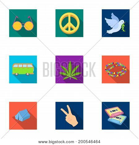 Bird, hemp, leaf and other hippy equipment. Hippy set collection icons in flat style vector symbol stock illustration.