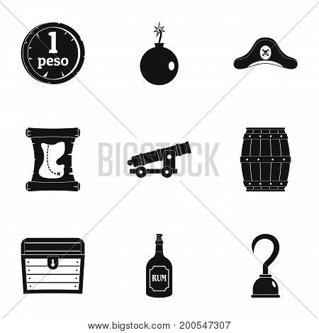 Pirates of the sea icon set. Simple set of 9 pirates of the sea vector icons for web isolated on white background