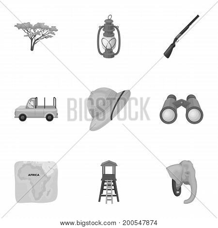 Rifle, mask, map of the territory, diamonds and other equipment. African safari set collection icons in monochrome style vector symbol stock illustration .