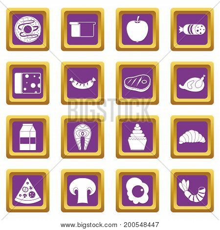 Food icons set in purple color isolated vector illustration for web and any design