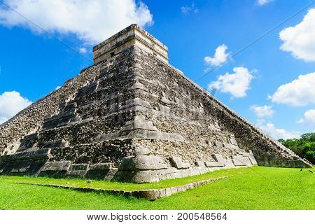 The Kukulkan Temple of Chichen Itza mayan pyramid in Yucatan Mexico No People El Castillo .