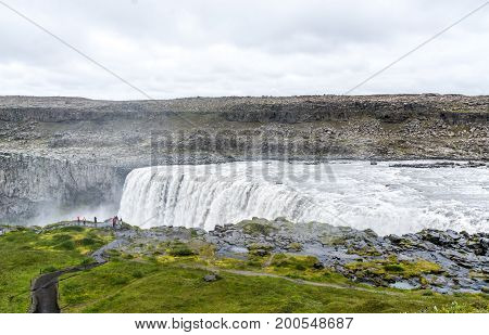 Spectacular Dettifoss waterfall in Iceland in summer.
