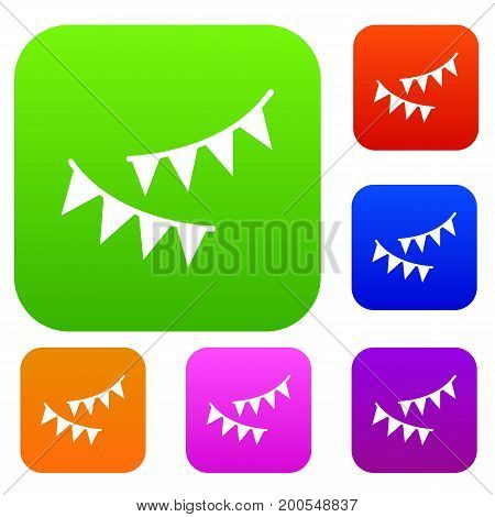 Holiday flags set icon in different colors isolated vector illustration. Premium collection