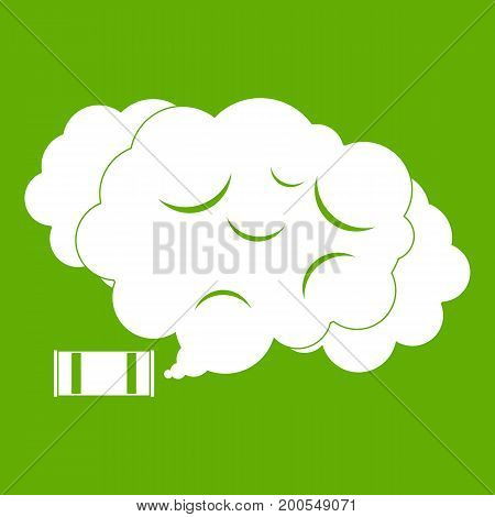 Tear gas icon white isolated on green background. Vector illustration