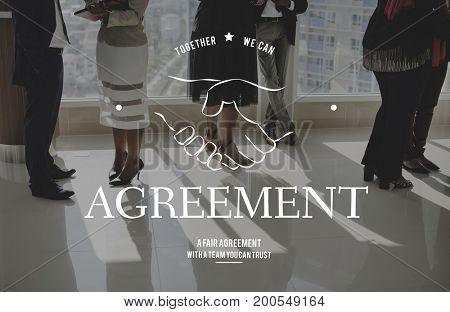 Agreement Handshaking Teamwork Together Graphic