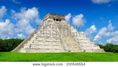 El Castillo The Kukulkan Temple of Chichen Itza mayan pyramid in Yucatan Mexico No People.
