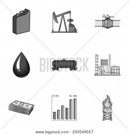 Oil rig, pump and other equipment for oil recovery, processing and storage.Oil set collection icons in monochrome style vector symbol stock illustration .