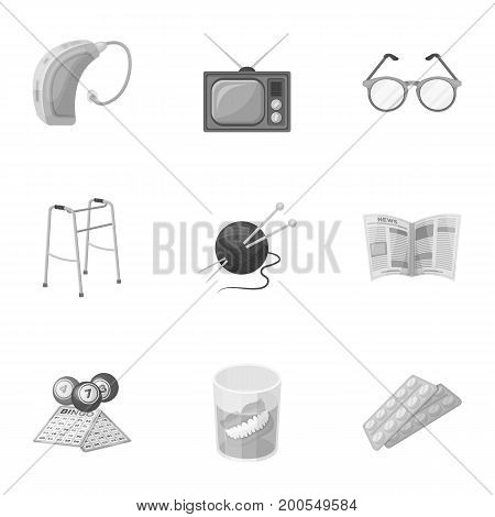 Armchair, slippers, tonometer and other attributes of old age.Old age set collection icons in monochrome style vector symbol stock illustration .