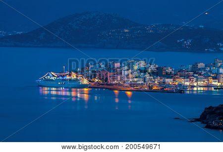 Cruise liner off the coast of Agios Nikolaos Crete Greece