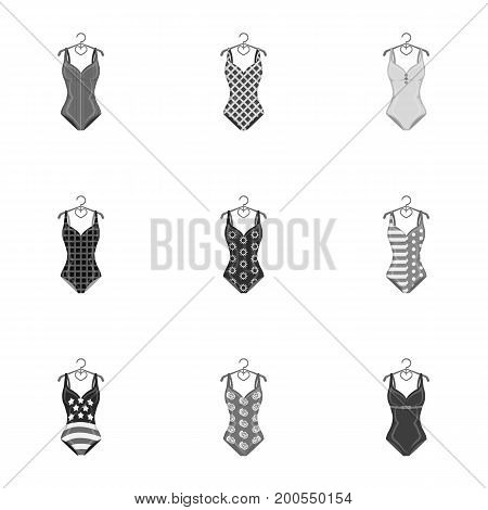 To relax on the beach, a pool of colorful swimsuits. Swimsuits set collection icons in monochrome style vector symbol stock illustration .