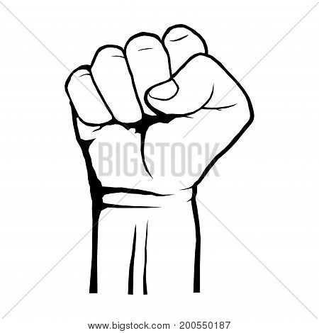 Human clenched fist. Protest, rebel revolution poster. A symbol of strength and superiority, success, struggle for its dip, sketch black and white. Vector illustration