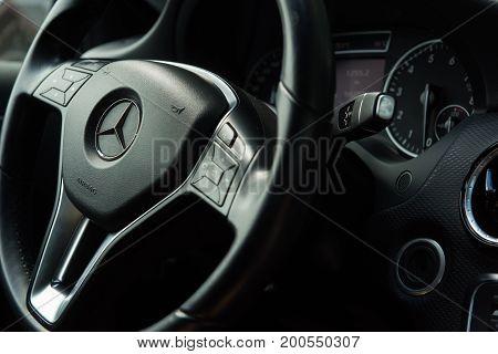 Stuttgart, Germany - July 08, 2017: Mercedes C200, steering wheel, panel, inside view
