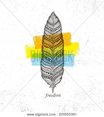 Ethno Tribal Feather Creative Vector Illustration On Rough Background. Stylish Handmade Design Element.