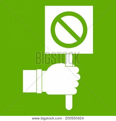 Hand showing stop signboard icon white isolated on green background. Vector illustration
