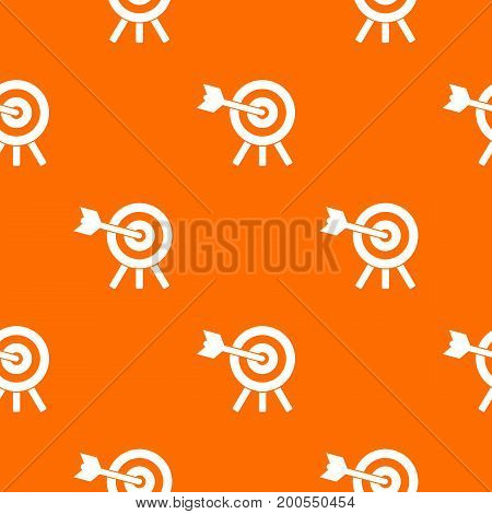 Arrow hit the target pattern repeat seamless in orange color for any design. Vector geometric illustration