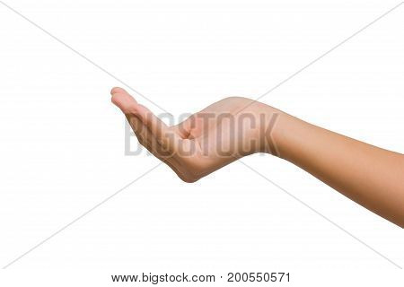12 year old asian young girl open right hand palm up isolated on white background. Clipping path. giving concept.