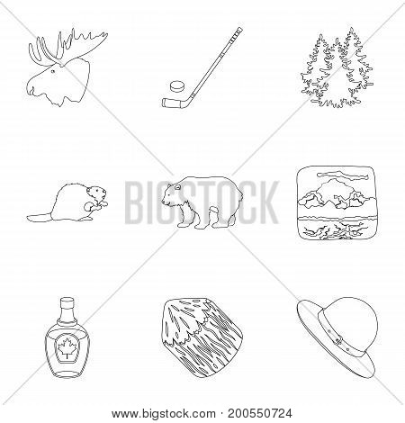 Wild animal, deer, horns and other Canada elements. Canada set collection icons in outline style vector symbol stock illustration.