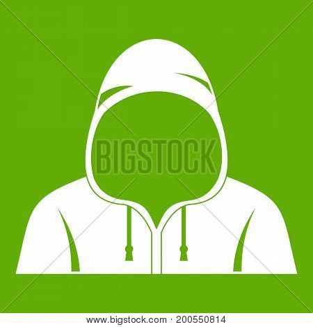 Hood icon white isolated on green background. Vector illustration