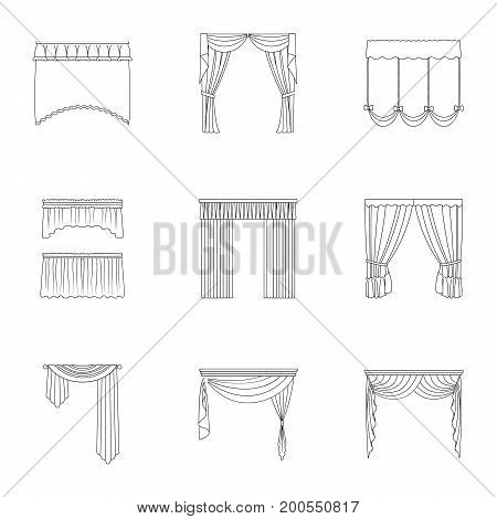 Fabric, textiles, interior and other curtains elements. Curtains set collection icons in outline style vector symbol stock illustration.