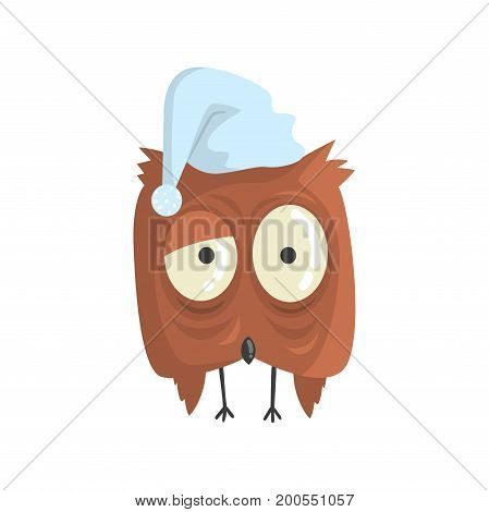 Cute little brown sleepy chick bird standing colorful character vector Illustration on a white background